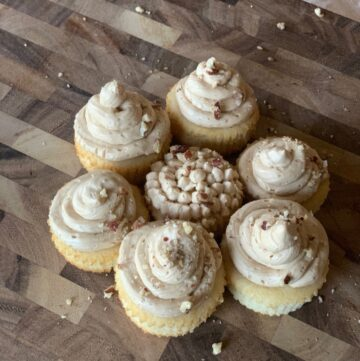 This is a vanilla cupcake with rich maple buttercream frosting and pecan sprinkles