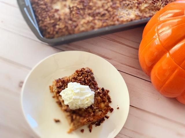 pumpkin dump crunch cake with whipped cream. The best alternative to pumpkin pie!