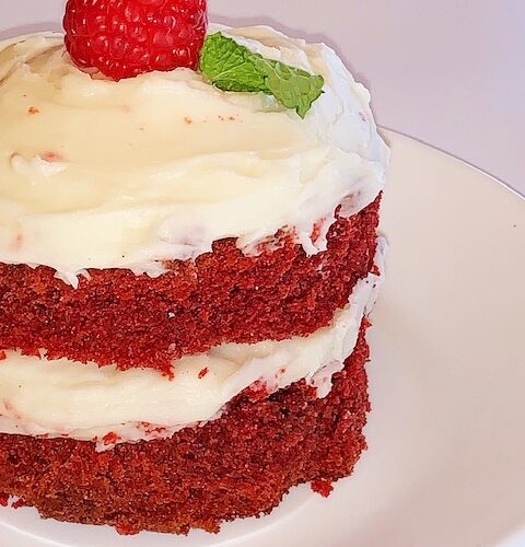 red velvet minis with cream cheese frosting