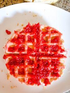 raspberries and cream waffle cake