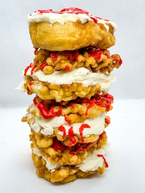 Bloody zombie funnel cake sandwiches