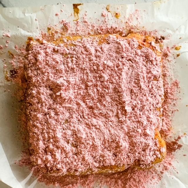 Strawberry powdered donut cake
